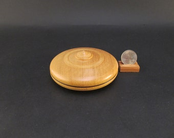 Box Lidded Container Yellowheart wood clamshell low profile hand turned jewelry