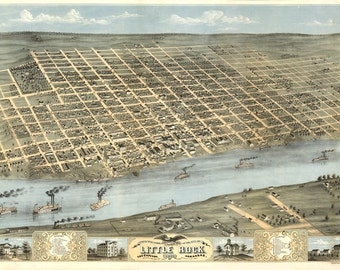 Vintage Map - Little Rock, Arkansas 1871