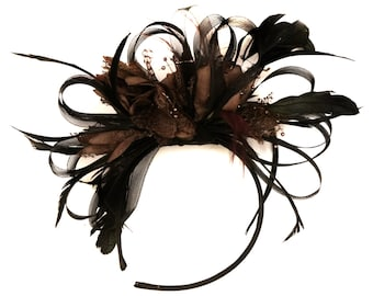 Black Hoop & Coffee Brown Feathers Fascinator on Headband