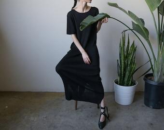 black minimalist knit maxi dress / short sleeve dress / long black dress / s / m / l / 2436d