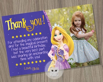 Rapunzel Thank You Card, Tangled Thank You Card, Tangled Birthday Card, Rapunzel Birthday, Princess Thank You Card, Disney Princess