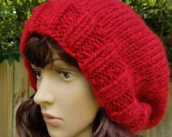 Slouchy Hat, Slouchy Beanie, Oversized, Baggy, Red, Redwood, Winter, Fall