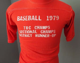 Vintage Red Baseball T-Shirt from the 1970s