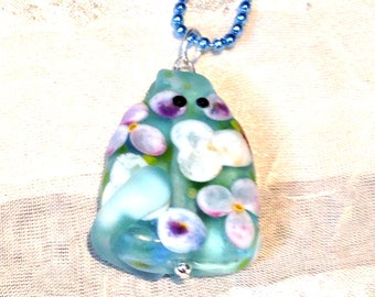 Flower Cat Necklace OOAK Wearable Art Handmade Lampwork Cat Focal Bead by TeriPersing