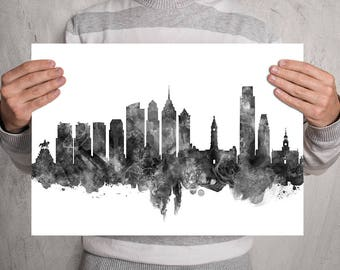 Philadelphia Skyline Print Black and White, Philadelphia Pennsylvania Watercolor Cityscape, Wedding Decor, Philadelphia Wall Art (A0578)