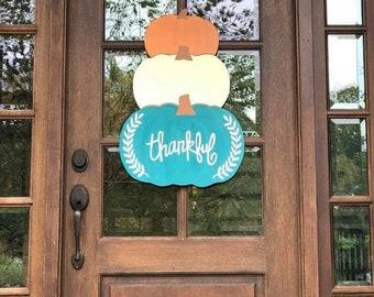 Triple Stacked Thankful Pumpkins / Fall Decor / Door Hanger / Thankful / Rustic