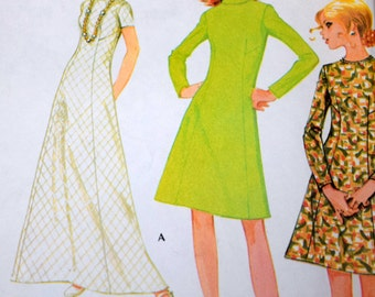 Misses 1970s Dress Sewing Pattern, McCall's 2665, Size 10 Bust 32.5, Cut but Complete, Roll Collar Dress