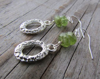 Peridot Earrings, silver dangles, upcycled earrings, silver and peridot