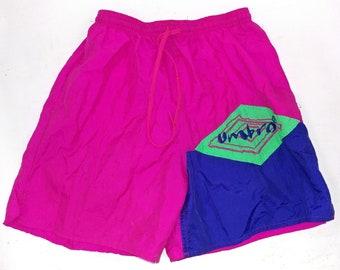 Vintage 90's Umbro Soccer Shorts Size Medium Pink Green Blue Nylon Guc