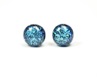 Teal Crinkle Dichroic Glass Stud Earring / One of a kind glass earring