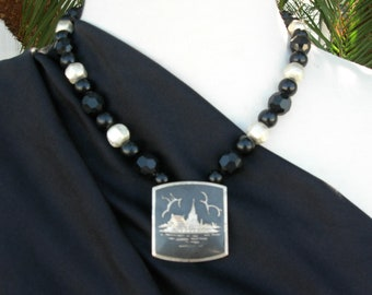 Thai Royal Grand Palace & Temple Pendant, Antique Siamese Design, Florentine Sterling Silver Beads,Black Vintage Beads,Set by SandraDesigns