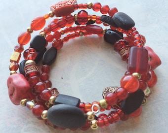 Ruby Red bracelet Asian style bracelet Buddha bracelet Boho jewelry festival bracelet hippie bracelet