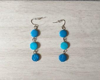 ocean blue earrings   minimalist dangle earrings