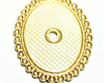 1 Cabochon holder in brass gilded, romantic style, 18 * 13 mm