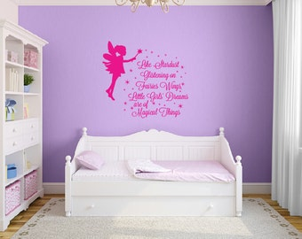 Like stardust glistening on fairies wings quote decal, Fairy wall decal for nursery, Girls room decor Pixie stickers Nursery wall decals 353
