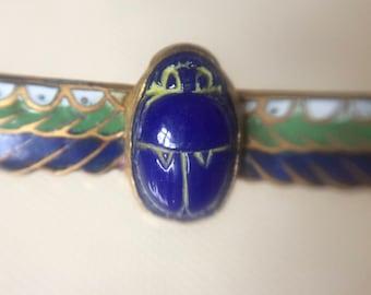 Vintage Egyptian Revival. Scarab Brooch Pin 1920's. Enamel. Handmade.French? Czech?