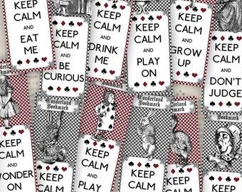 Alice in Wonderland Bookmarks printable reading gift crafting craft journal art instant download digital collage sheet - VDBMAL1116