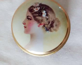 Vintage Pill Box, small vintage tin, small trinket tin, Edwardian lady