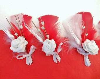 Red and white BOUTONNIERE favor for guests