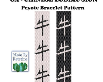 Peyote Pattern - OX - Chinese Zodiac Sign - INSTANT DOWNLOAD pdf - Peyote Stitch Bracelet Pattern - Ox Peyote Bracelet Pattern