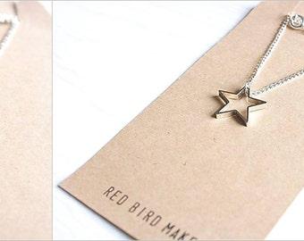 Minimalist Geometric Silver/Gold Star Necklace