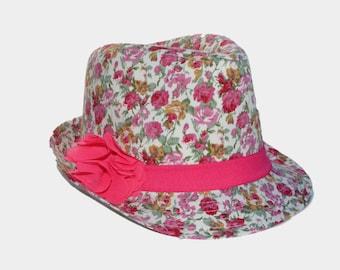 Girls Fedora -- Floral Fedora -- Beach Fedora -- Pink Fedora