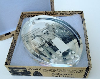 Gift Boxed Antique Photo Paperweight Stylish Couple In Front of Southern Railway Arch Desk Art Handmade Gift Item