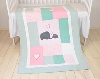 Pink Baby Blanket  Mint Elephant Quilt, Girl Crib Bedding, Patchwork Bespread