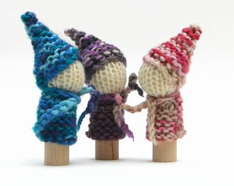 Knitted Finger Gnomes - Waldorf inspired Finger play - Waldorf Finger puppets - Traditional Steiner knitted gnomes. 100% wool Australia