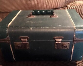 Vintage Green Train Case -suitcase - travel - cosmetics - blue locks