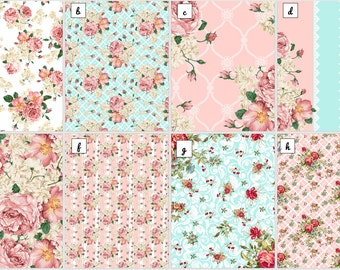 Floral Wafer Paper Sheets, Shabby Chic Wafer paper ,Garden Rose, Floral wafer paper, Frosting sheets for cakes,