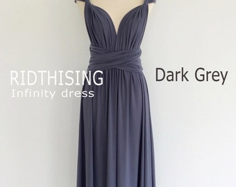 Maxi Dark Grey Infinity Dress Bridesmaids Dress Prom Dress Convertible Dress Wrap Dress