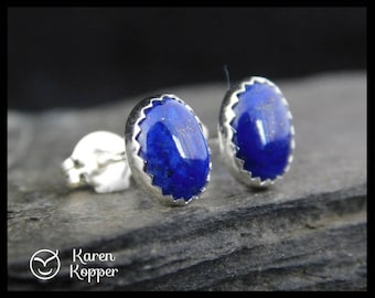 Natural blue lapis lazuli earrings, 8x6 mm, in a sterling silver bezel setting. Stud earrings. September birthstone. Ready to ship. 200