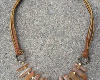 Boho amber colored quartz crystal necklace