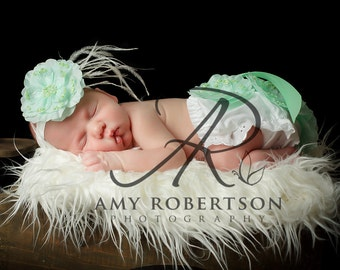 Vintage Glamour in Mint Green Aqua- 2 Piece Set- Diaper Cover and Headband- 30 Colors to Choose From