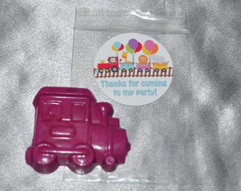 Animal Party Train Party Favors, Train Crayons, Train Party Favors, Train Crayons and Stickers/ 20 Train Stickers and 20 Train Crayons