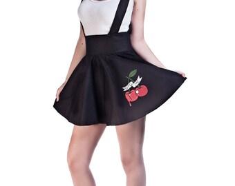 Black High Waist Suspender Skirt, Pin Style Skirt, Tattoo Skirt, Skirt with Braces, Cherry Circle Skirt, Ready to Ship Size UK 8/US 4