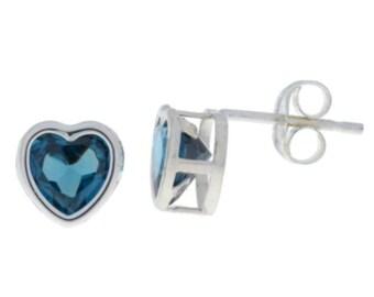 London Blue Topaz Heart Bezel Stud Earrings .925 Sterling Silver