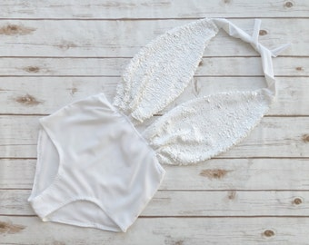 Swimsuit High Waisted Vintage Style - Ice White Sparkle Sequin One Piece - Retro Bathing Suit Swimwear - Wedding Bachelorette Honeymoon