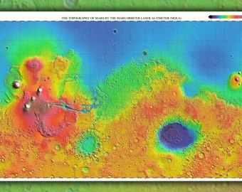 Poster, Many Sizes Available; Mars Topography Map 3