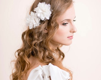 Wedding Hair Piece Vintage Lace - Wedding Hair Flower Clip Set of 2 - Bridal Hair Piece - Bohemian Wedding