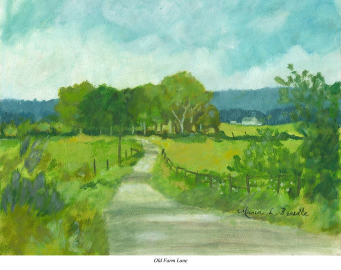 "Free Ship: ""Old Farm Lane"" - Giclee Archival Print of Oil Painting"