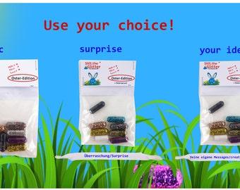Merda lo scintillio, le pillole glitter - Pasqua baggy per ogni coniglietto glitterato (Basic, Surprise, Customizable)