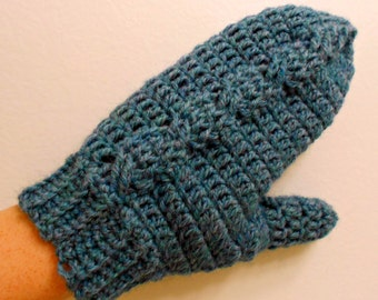 Crochet Cabled Mittens -- PDF Pattern