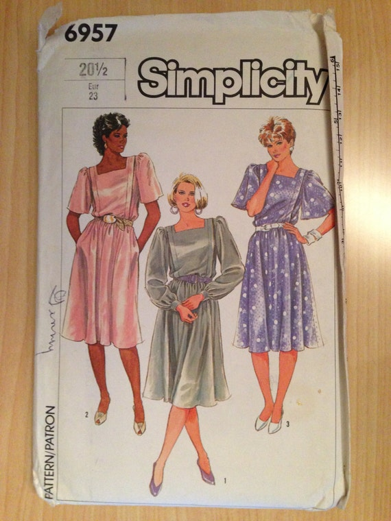 Simplicity 6957 Sewing Pattern Uncut 80s Misses Easy to Sew Dress in Half Sizes Size 20 1/2