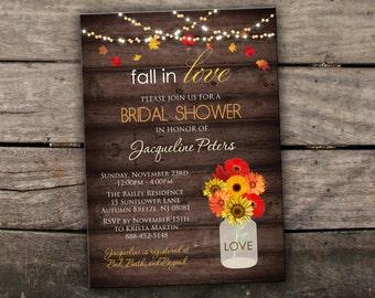 Fall bridal shower etsy 10 off printed or digital fall bridal shower invitation fall couples shower invitation mason jar invitation autumn bridal shower printable filmwisefo