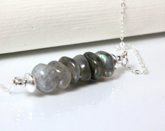 Labradorite and Sterling Silver Bar Necklace