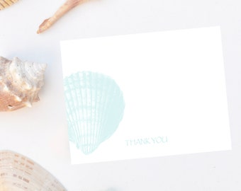 Personalized, stationery, Scallop Seashell Note Cards