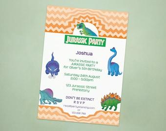 Dinosaur party invitations Jurassic Park party personalized invites printed birthday party invitation printing