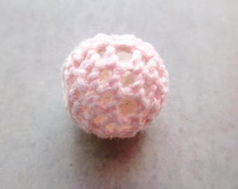 x 1 bead Crochet / knit pink 15mm